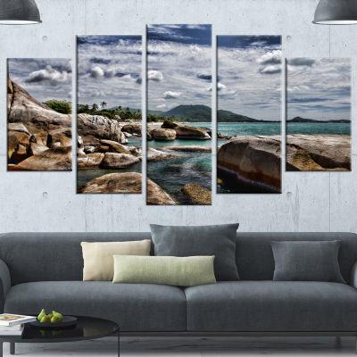 Designart Rocky Beach With Dramatic Sky Large Seashore Canvas Art Print - 5 Panels