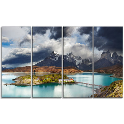 Torres Del Paine Lake Pehoe Large Seashore CanvasArt Print - 4 Panels