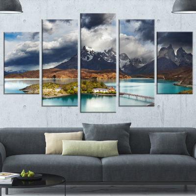 Designart Torres Del Paine Lake Pehoe Large Seashore Wrapped Canvas Art Print - 5 Panels