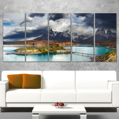 Torres Del Paine Lake Pehoe Large Seashore CanvasArt Print - 5 Panels