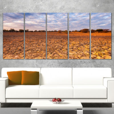Amazing View Of African Landscape Landscape CanvasArt Print - 5 Panels