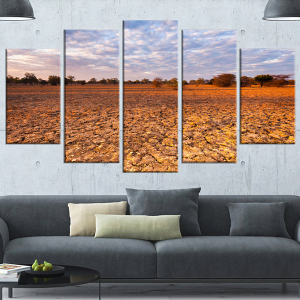 Designart Amazing View Of African Landscape Landscape Canvas Art Print - 5 Panels
