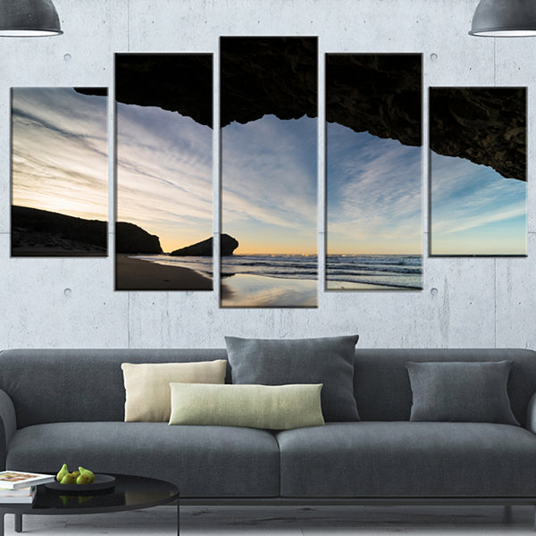 Designart Monsul Beach During Sunset Large Seashore Wrapped Canvas Art Print - 5 Panels