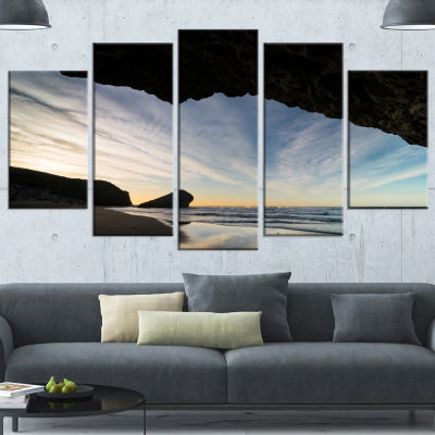 Designart Monsul Beach During Sunset Large Seashore Canvas Art Print - 5 Panels