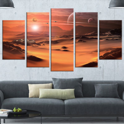 Designart Alien Planet 3D Rendered Computer Art Landscape Canvas Art Print - 5 Panels