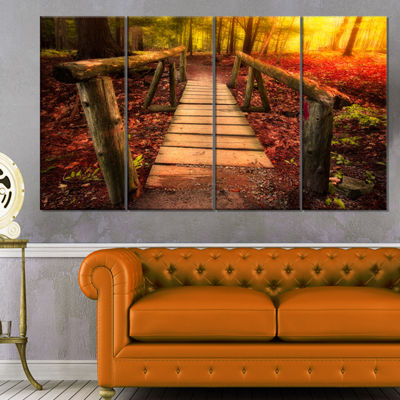 Designart Beautiful Footbridge In Golden Light Bridge Canvas Art Print - 4 Panels