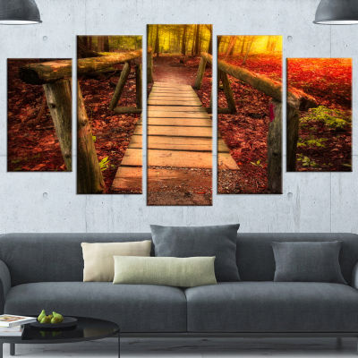 Designart Beautiful Footbridge In Golden Light Bridge Canvas Art Print - 5 Panels
