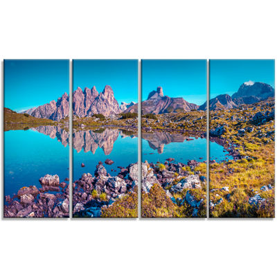 Designart Lago Rienza Ursprung Panorama Large Seashore Canvas Art Print - 4 Panels