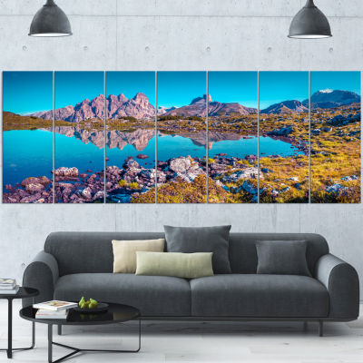Lago Rienza Ursprung Panorama Large Seashore Wrapped Canvas Art Print - 5 Panels