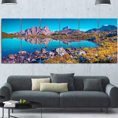 Designart Lago Rienza Ursprung Panorama Large Seashore Canvas Art Print - 6 Panels