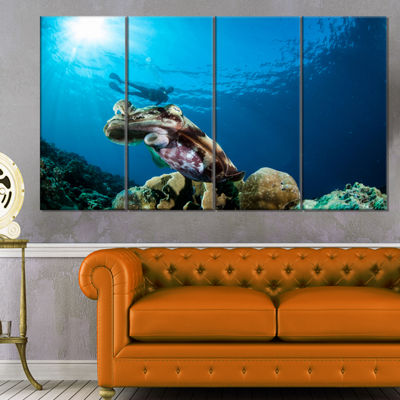 Designart Broadclub Cuttlefish Underwater Large Seashore Canvas Art Print - 4 Panels