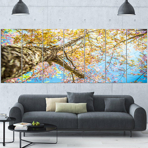 Designart Under Branch Of Yellow Cherry Tree TreesWrapped Canvas Art Print - 5 Panels