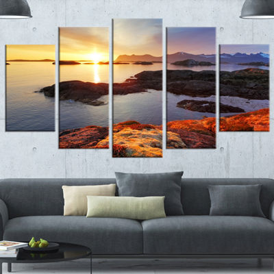 Designart Ocean Coast Nice Sunset In Norway LargeSeashore Wrapped Canvas Art Print - 5 Panels