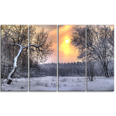 Winter Landscape With Yellow Sun Landscape CanvasArt Print - 4 Panels