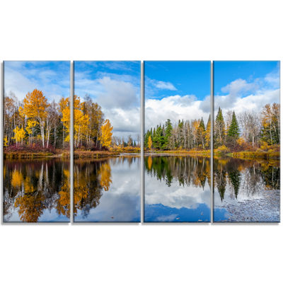 Designart Nice Autumn Trees With Forest Lake Landscape Canvas Art Print - 4 Panels