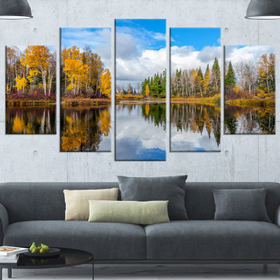 Designart Nice Autumn Trees With Forest Lake Landscape Wrapped Canvas Art Print - 5 Panels