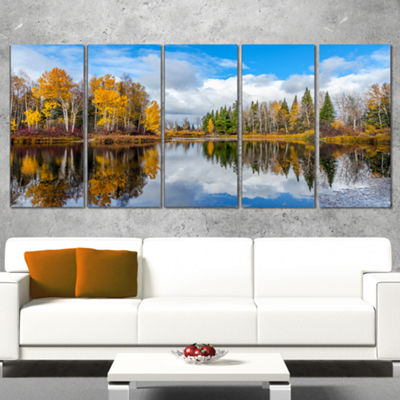 Designart Nice Autumn Trees With Forest Lake Landscape Canvas Art Print - 5 Panels
