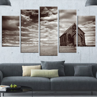 Designart Abandoned Desert Church Landscape CanvasArt Print- 4 Panels