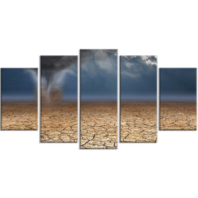 Dust Devil In The Desert Landscape Wrapped CanvasArt Print - 5 Panels