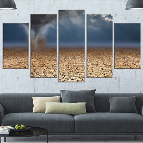 Designart Dust Devil In The Desert Landscape Canvas Art Print - 5 Panels