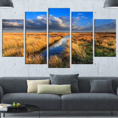 Meadow Land With Beautiful Skyscrapers Landscape Canvas Art Print - 5 Panels