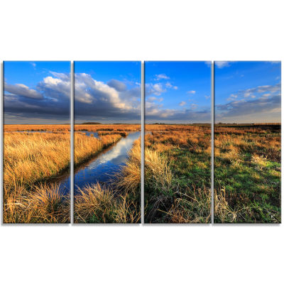 Beautiful Meadow With Blue Sky Landscape Canvas Art Print - 4 Panels