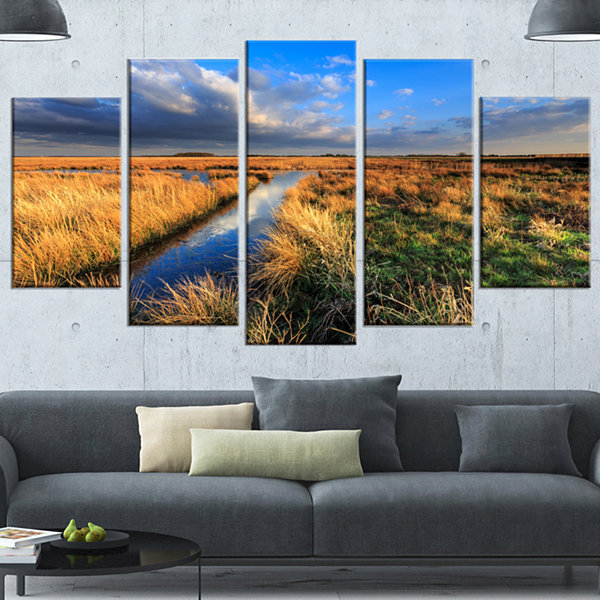 Designart Beautiful Meadow With Blue Sky LandscapeWrapped Canvas Art Print - 5 Panels