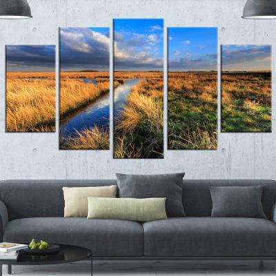 Designart Beautiful Meadow With Blue Sky LandscapeCanvas Art Print - 5 Panels