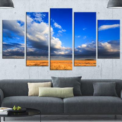 Designart Clouded Blue Sky Over Prairie LandscapeWrapped Canvas Art Print - 5 Panels