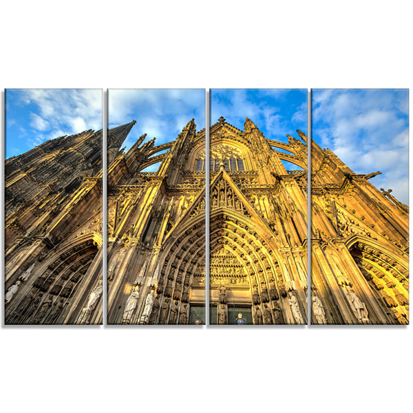 Design Art Dom Church In City Cologne Lit By Sun Large Cityscape Art Print On Canvas - 4 Panels