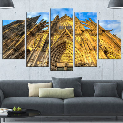 Design Art Dom Church In City Cologne Lit By Sun Large Cityscape Art Print On Wrapped Canvas - 5 Panels