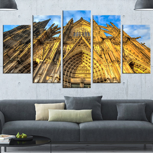 Design Art Dom Church In City Cologne Lit By Sun Large Cityscape Art Print On Canvas - 5 Panels