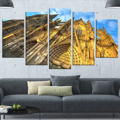 Designart Facade Of Dom Church With Blue Sky LargeCityscapeArt Print On Wrapped Canvas - 5 Panels