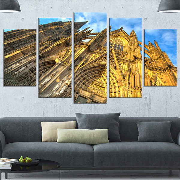 Design Art Facade Of Dom Church With Blue Sky Large CityscapeArt Print On Canvas - 5 Panels