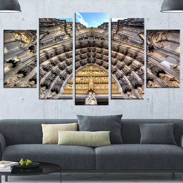 Designart Facade Of The Dom Church In City LargeCityscape Art Print On Canvas - 4 Panels