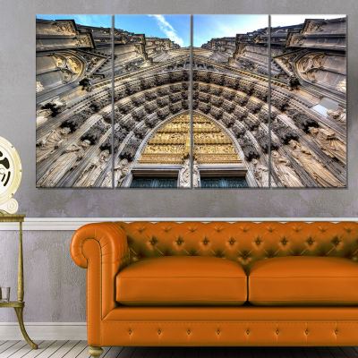 Facade Of The Dom Church In City Large Cityscape Art Print On Canvas - 4 Panels