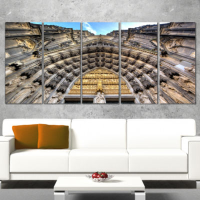 Facade Of The Dom Church In City Large Cityscape Art Print On Canvas - 5 Panels
