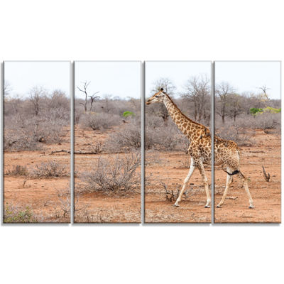 Designart Giraffe Walking Through African ForestAnimal Canvas Art Print - 4 Panels