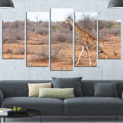 Designart Giraffe Walking Through African ForestAnimal Wrapped Canvas Art Print - 5 Panels