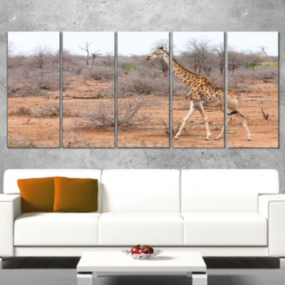 Giraffe Walking Through African Forest Animal Canvas Art Print - 5 Panels