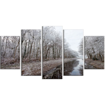 Designart Trees In White Winter Landscape Landscape Wrapped Canvas Art Print - 5 Panels