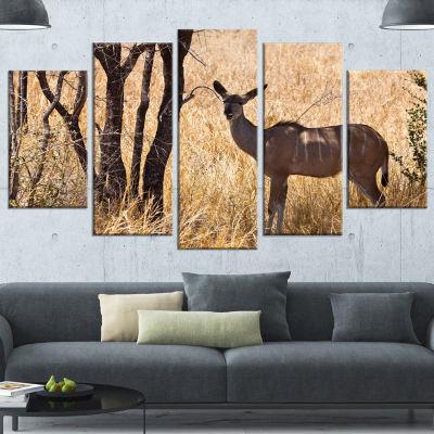 Design Art Grants Gazelle Standing In Long Grass Animal Canvas Art Print - 5 Panels