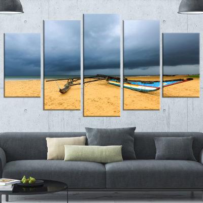 Beach With Dark Clouds Above Ocean Large SeashoreWrapped Canvas Art Print - 5 Panels