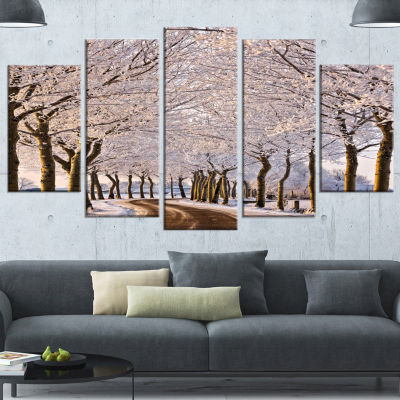 Designart Trees And Road In White Winter LandscapeWrapped Canvas Art Print - 5 Panels