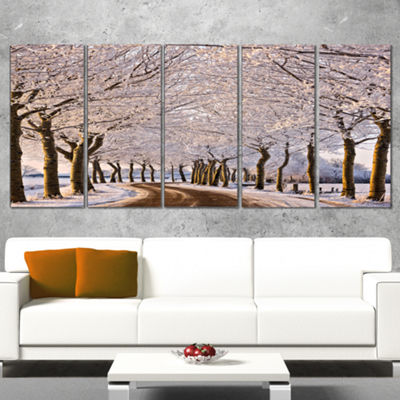 Designart Trees And Road In White Winter LandscapeCanvas Art Print - 5 Panels