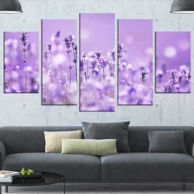 Designart Stunning Purple Lavender Field LandscapeWrapped Canvas Art Print - 5 Panels