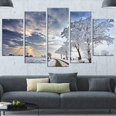 Designart Cloudscape In White Winter Terrain Landscape Canvas Art Print - 4 Panels