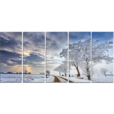 Designart Cloudscape In White Winter Terrain Landscape Canvas Art Print - 5 Panels