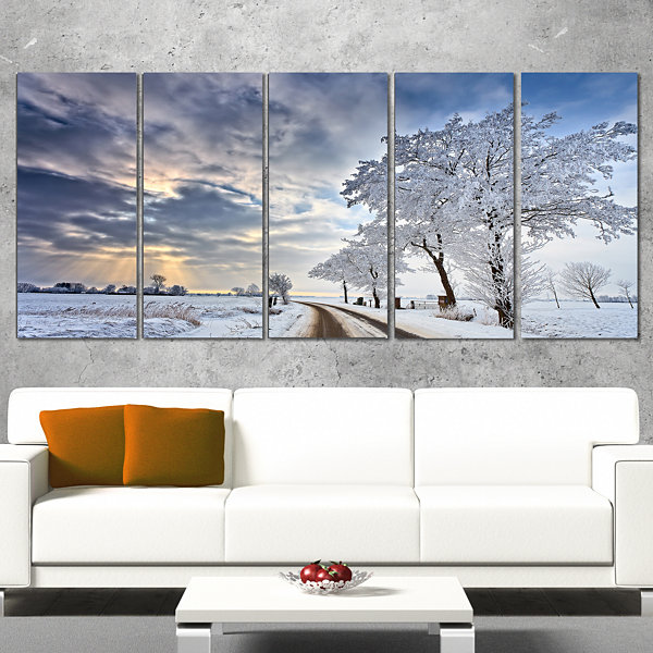 Design Art Cloudscape In White Winter Terrain Landscape Canvas Art Print - 5 Panels