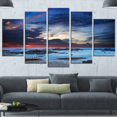 Designart Colorful Traditional Asian Boats Landscape Wrapped Canvas Art Print - 5 Panels